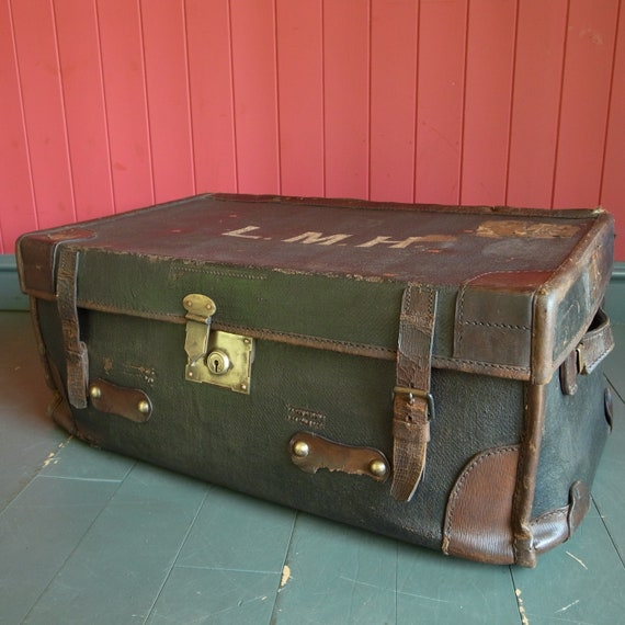 VINTAGE STEAMER TRUNK Old Travel Trunk Coffee Table Luggage Chest Storage Box