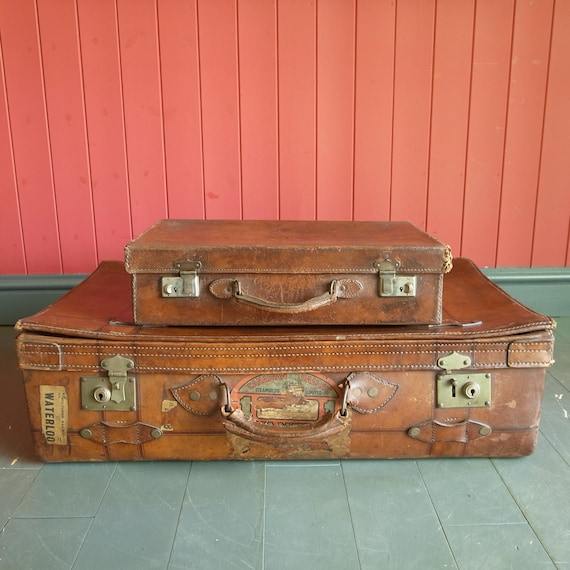 Vintage Suitcase Stack Leather Luggage Trunks 40s Travel Case Bag PROP