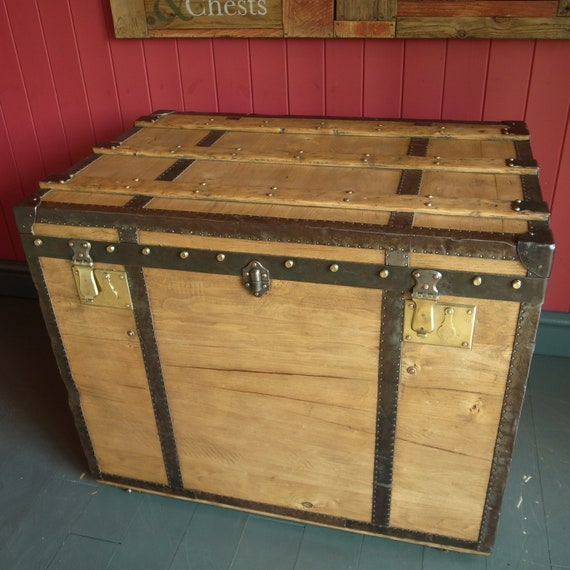 Antique Steamer Trunk Console Table Vintage Storage Chest Pine Box