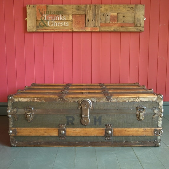 Vintage Steamer Trunk Coffee Table Storage Chest Antique Furniture Old Luggage