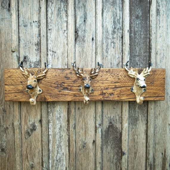 Vintage Coat Rack Stag Head Hooks Rustic Reclaimed Wooden Man Gift (Limited Stock)