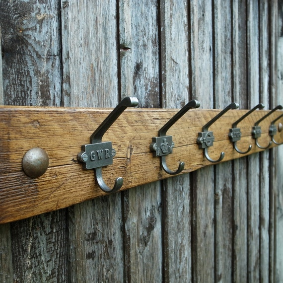 Vintage Industrial Railway Coat Rack Rustic Wooden Cloakroom Hooks Mens Gift 6 Hooks 90cm (Made To Order - Any Width) LIMITED STOCK
