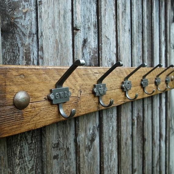 Vintage Industrial Railway Coat Rack Rustic Wooden Cloakroom Hooks Reclaimed (6 Hooks 90cm)