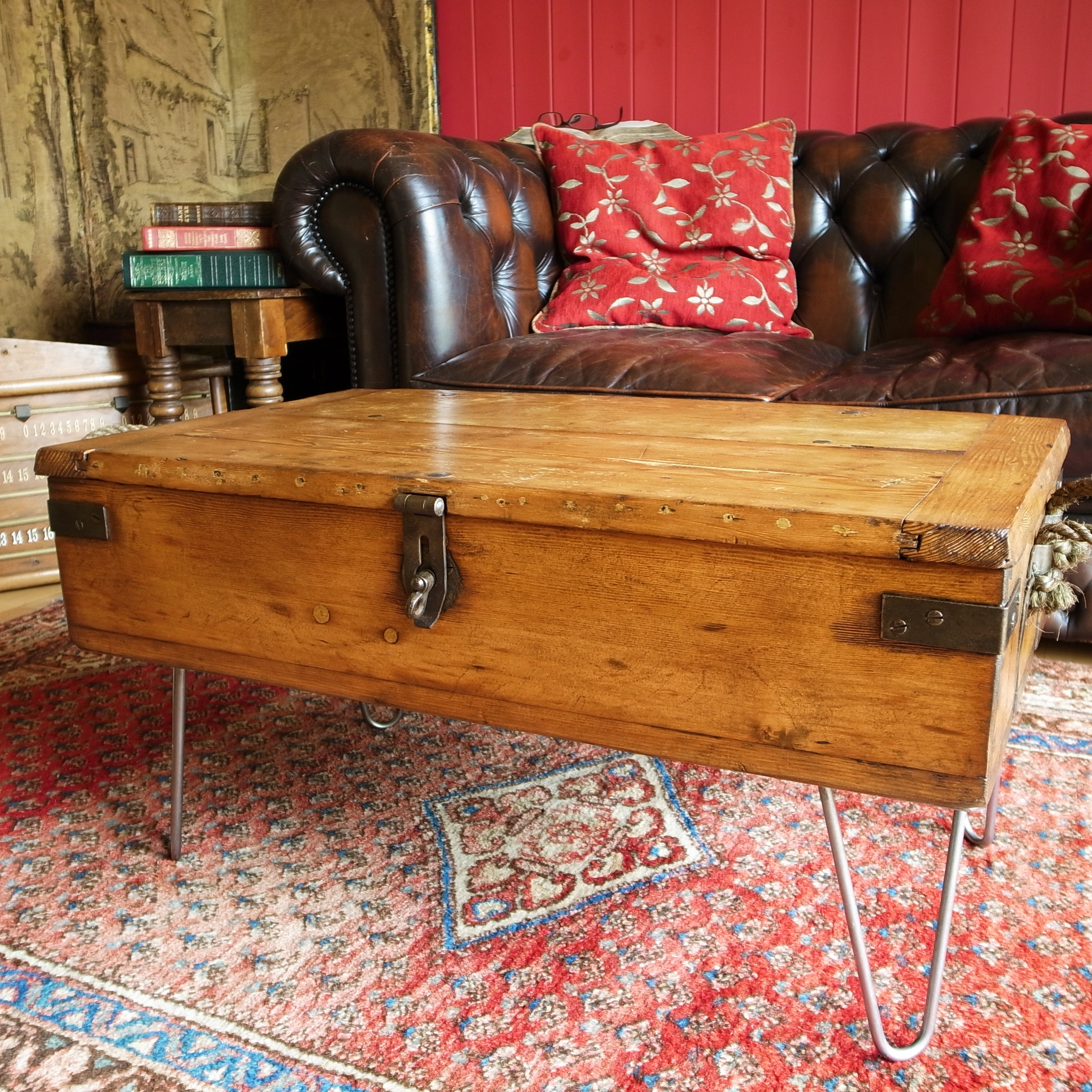 Vintage Coffee Table Storage Trunk Reclaimed Industrial Military Chest Rustic Wooden Furniture Tv Stand