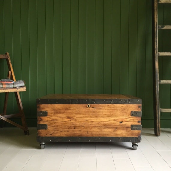 ANTIQUE PINE CHEST Old Victorian Military Campaign Boer War Trunk Rustic Industrial Wooden Coffee Table Box + Key