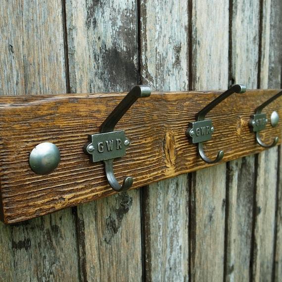 Vintage Industrial Cloakroom Hooks Rustic Coat Rack Reclaimed Wood (3 hooks 50cm)
