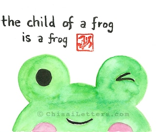 Child of a Frog Original Watercolor & Ink Painting