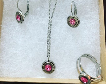Set of ring, necklace, and earrings. 9mm