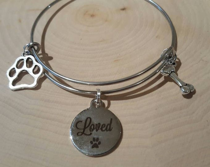 Dog love bangle bracelet, stainless steel