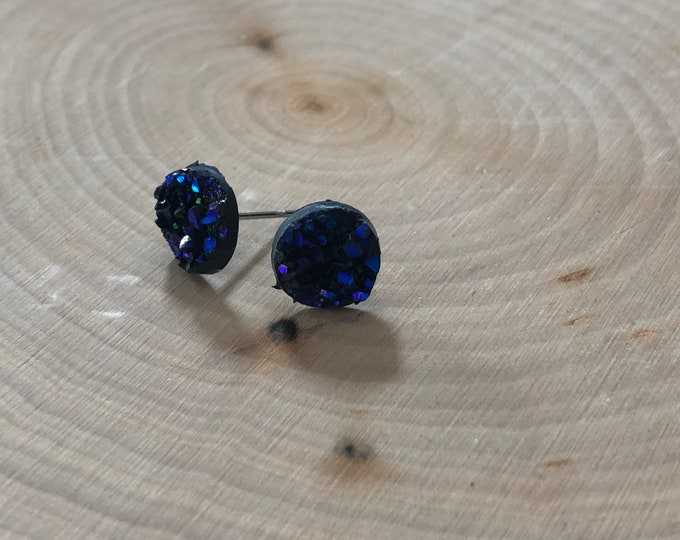 Purple/blue earrings, stainless steel posts.