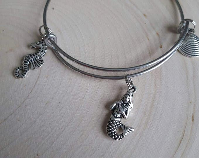 Mermaid bangle, shell and sea horse, ocean bangle