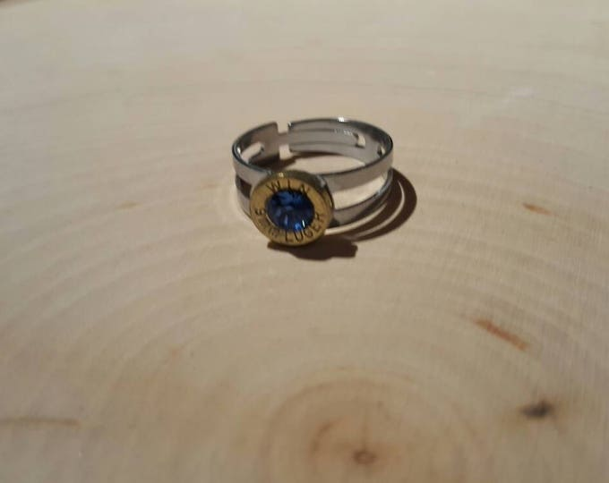 9mm blue swarovski crystal, brass bullet, stainless steel adjustable band, ring