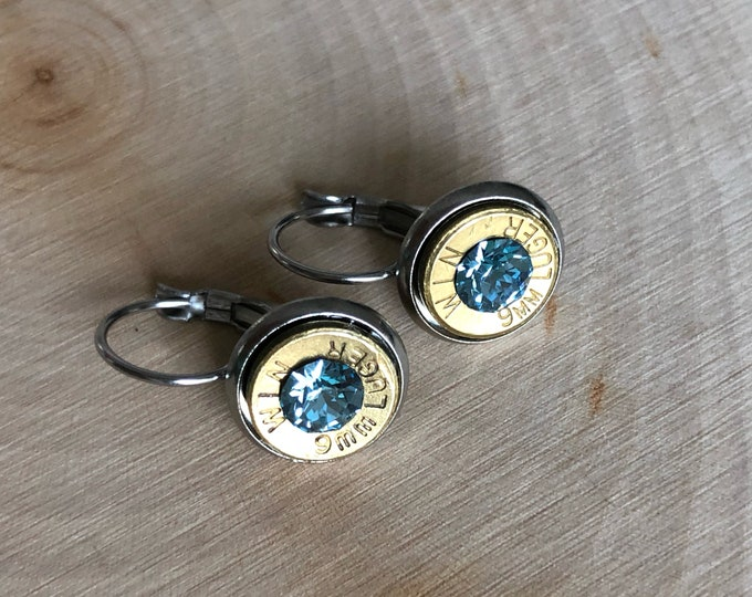9mm brass bullet earrings, stainless steel lever backs, grey blue swarovski crystals