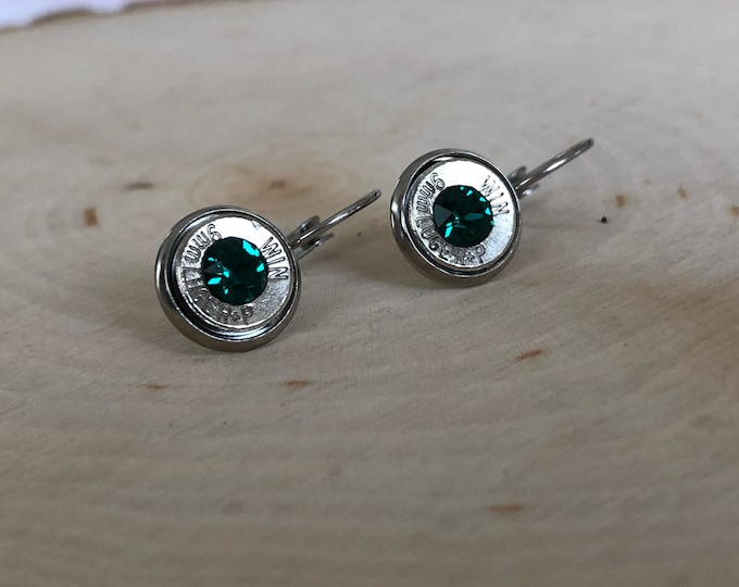 9mm silver bullet earrings, stainless steel lever backs, dark green swarovski crystals