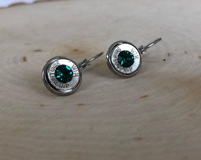 9mm silver bullet earrings, stainless steel lever backs, dark green swarovski crystals