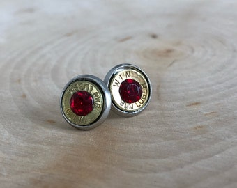 9mm brass bullet studs with red swarovski crystals, stainless steel backings