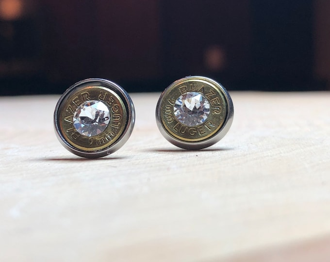 9mm brass bullet studs with clear swarovski crystals, stainless steel backings