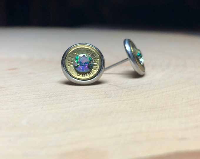 9mm rainbow bullet earrings, stainless steel studs