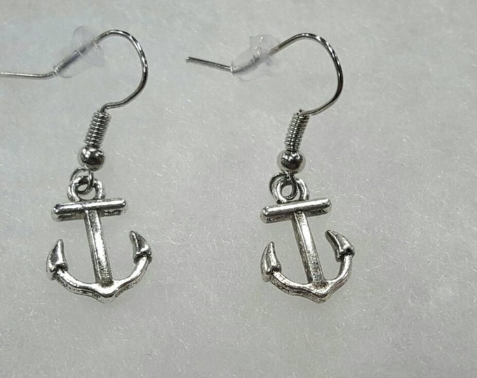 Anchor dangle earrings, stainless steel posts