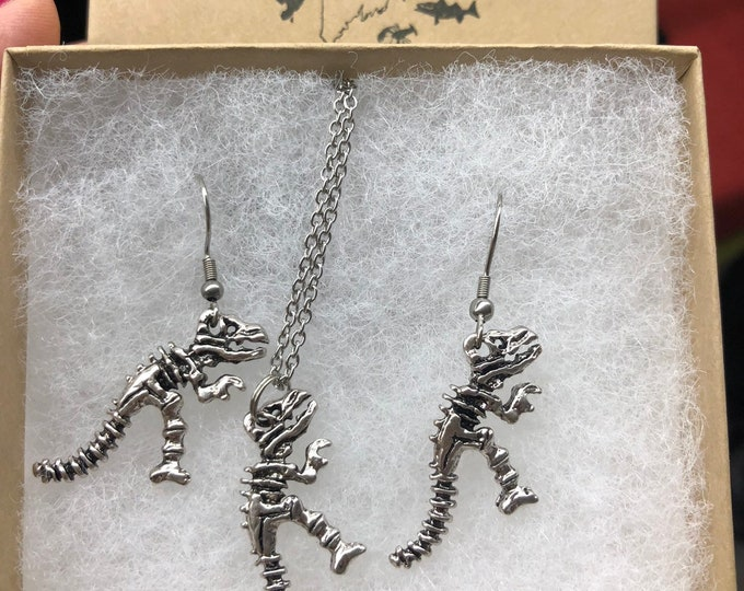 T-Rex skeleton earring and necklace set