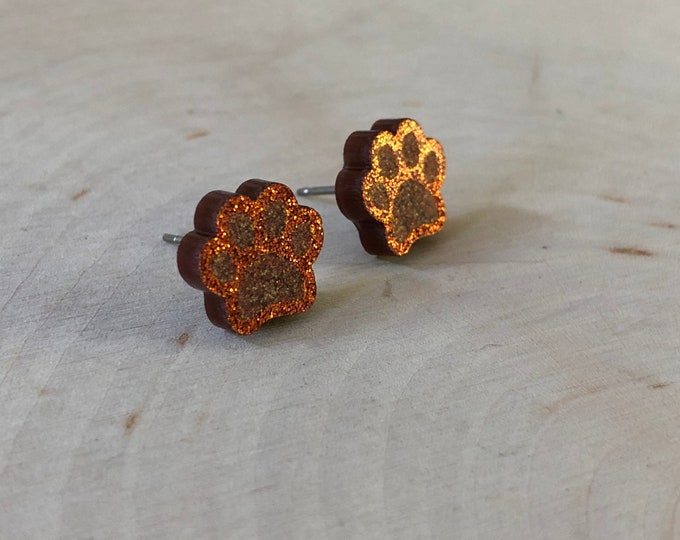 Brown/orange glitter paw studs, stainless steel posts