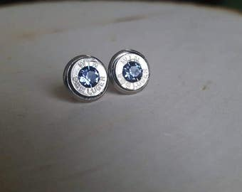 9mm light purple bullet earrings, swarovski crystals. Backings are stainless steel