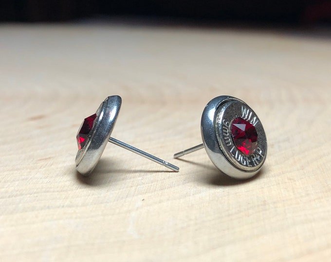 9mm red Swarovski crystal silver bullet earrings