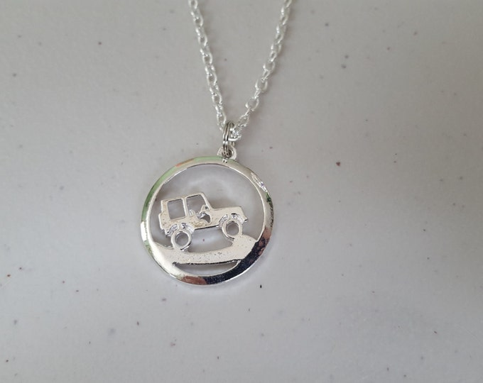 Jeep necklace, silver plated