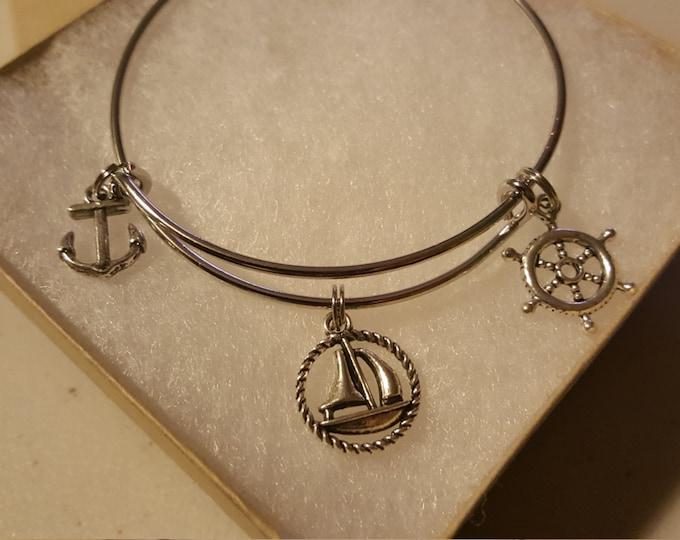 Ocean Boat Bangle Bracelet