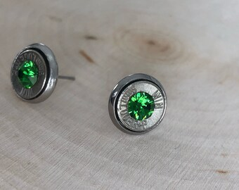 9mm bright green crystal sliver bullet studs, stainless steel backings