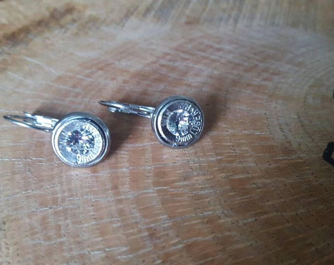 9mm clear swarovski crystals stainless steel lever back dangle earrings
