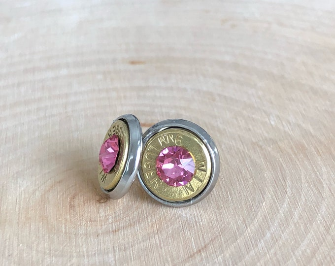 9mm brass bullet studs with medium pink swarovski crystals, stainless steel backings