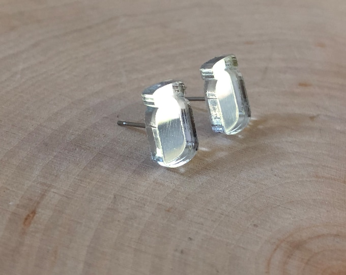 Clear reflective mason jar studs,  stainless steel posts