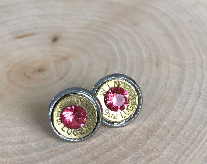 9mm brass bullet studs with bright peach swarovski crystals, stainless steel backings
