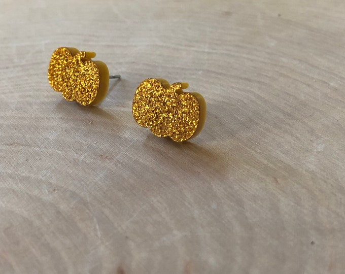 Orange glitter pumpkin studs, stainless steel posts