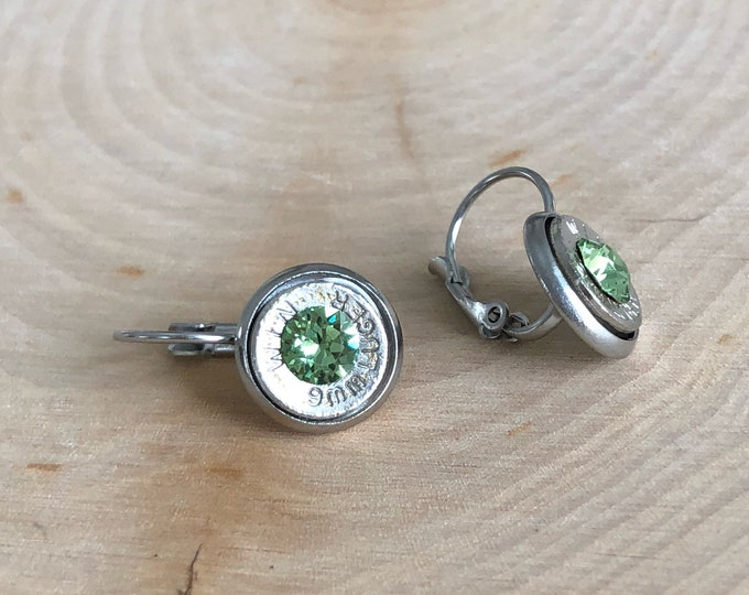 9mm silver bullet earrings, stainless steel lever backs, light green swarovski crystals
