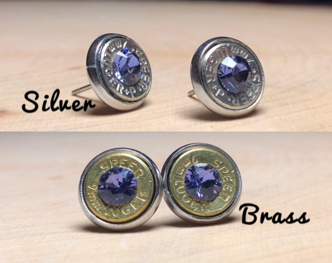 9mm purple bullet earrings, stainless steel studs, choose either brass or silver bullets