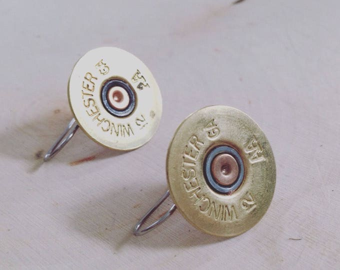 12 gauge shotgun shell drop earrings, stainless steel backings