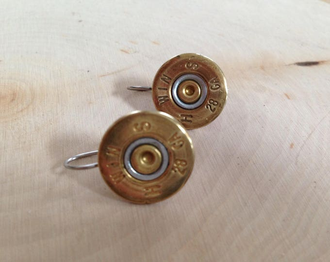 28 gauge bullet earrings, stainless steel backings
