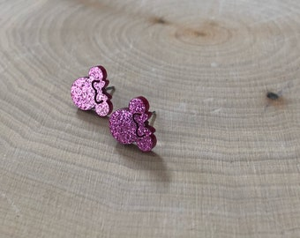 Pink minnie mouse earrings, stainless steel posts.