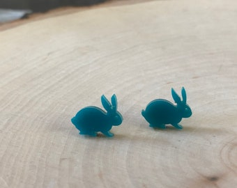 Aqua bunny studs, stainless steel posts