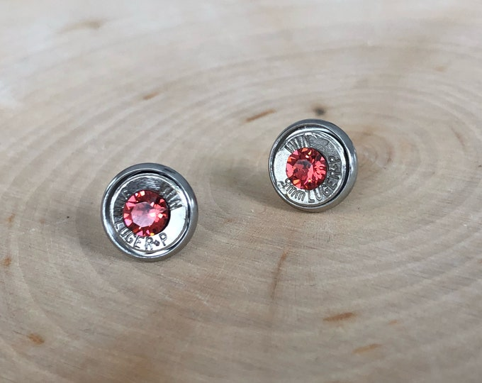 9mm bright peach crystal sliver bullet studs, stainless steel backings