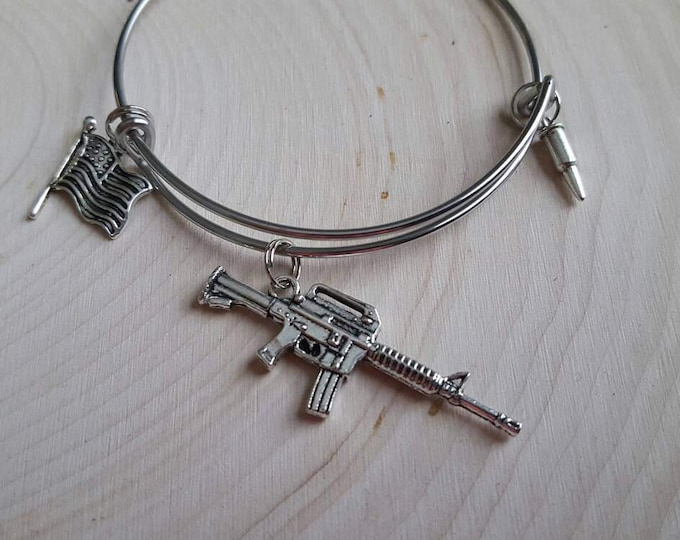 Rifle bangle bracelet with bullet and American flag