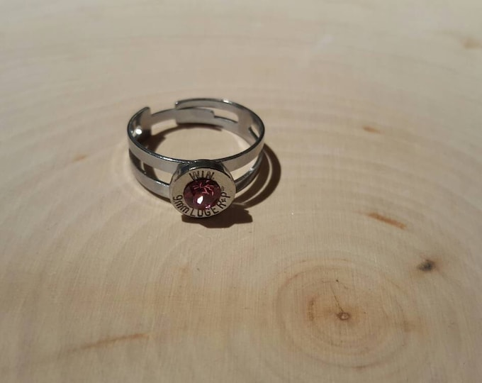 9mm silver bullet, pink swarovski crystal, stainless steel band