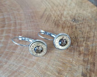 9mm dangle earrings, brown colored swarovski crystals, stainless steel lever backs