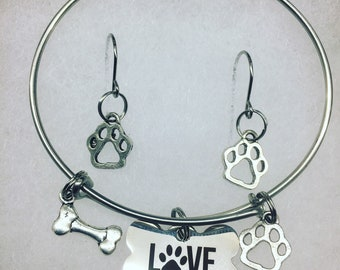Dog love bracelet with earrings