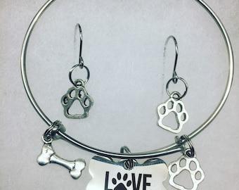 Dog love bracelet with earrings
