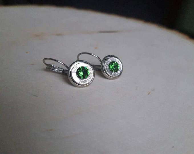9mm bullet earrings with bright green swarovski crystals, silver slices. Stainless steel backings