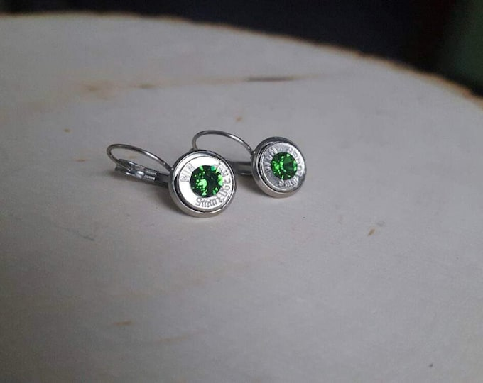 9mm bullet earrings with light green swarovski crystals, silver slices. Stainless steel backings