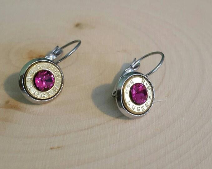 9mm bullet earrings dark pink crystals